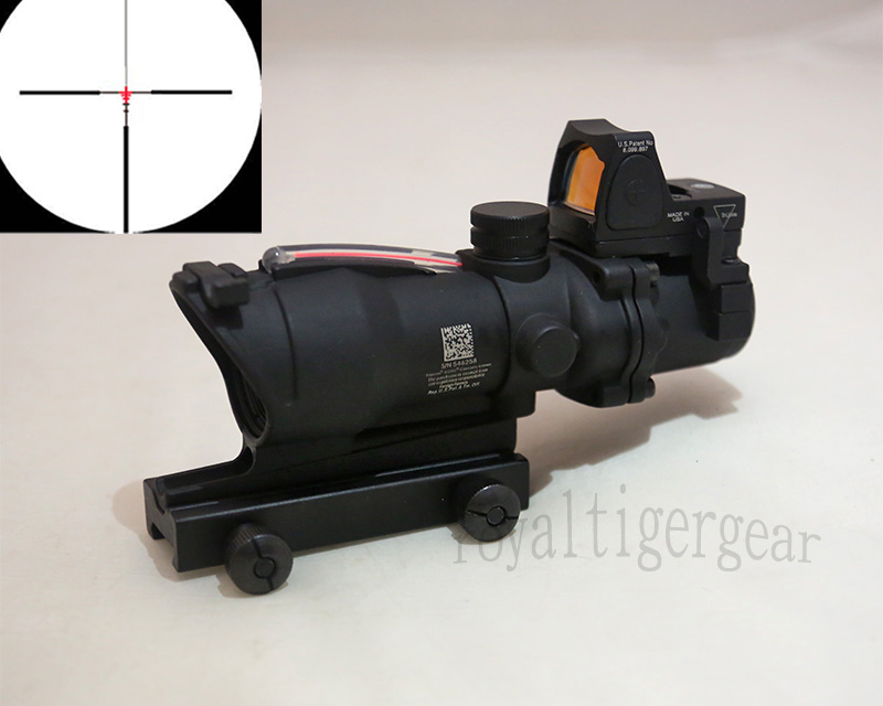 ACOG style 4X Scope - Red Illuminated Optic Fibre w/ Red Dot RMR Sight - Black