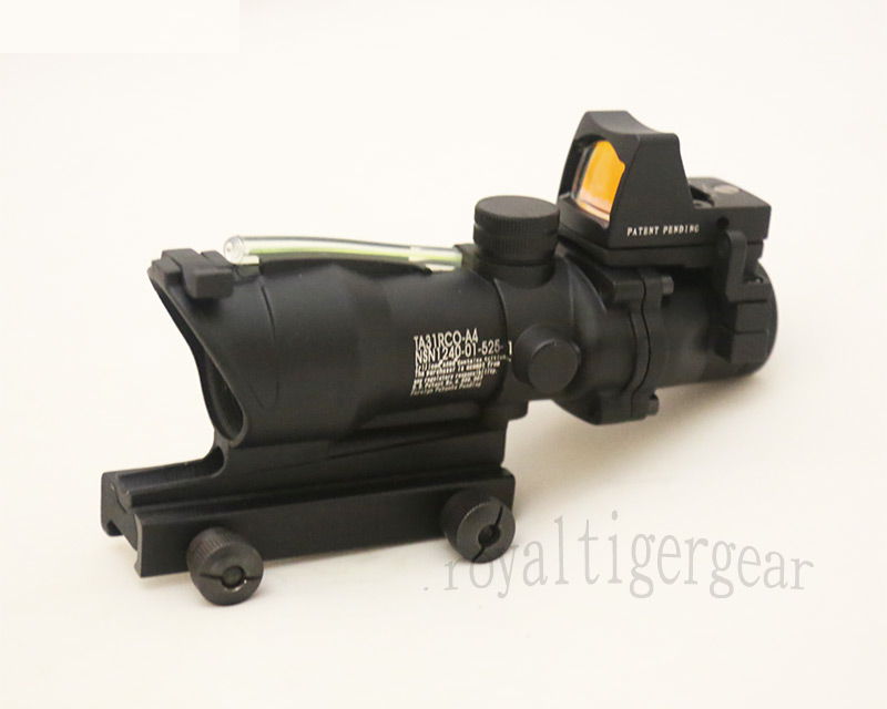 ACOG style 4X Scope – Dummy Green Optic Fibre w/ Red Dot Sight - Black