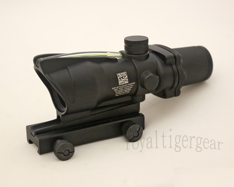 ACOG style 4X Scope - Green Illuminated Optic Fibre Scope - Black