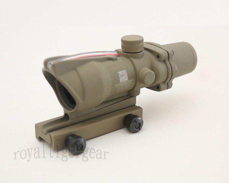 ACOG style 4X Scope - Red Illuminated Optic Fibre Scope - Dark Earth