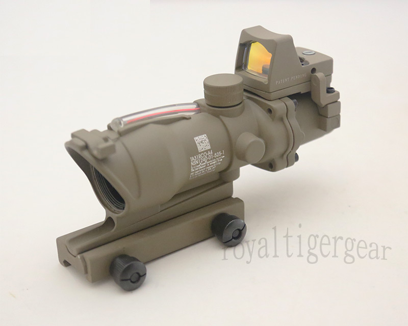 ACOG style 4X Scope - Red Illuminated Optic Fibre w/ Red Dot Sight - Dark Earth