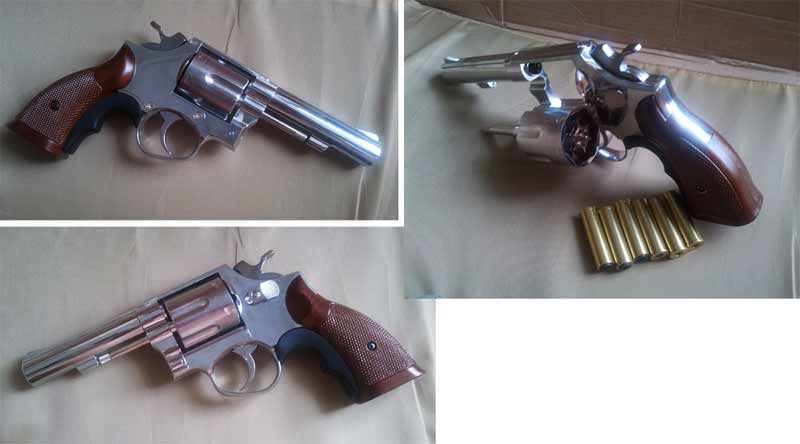 HFC HG-131 - S&W Model 10 / M10 Heavy Barrel .38 Gas Revolver - Silver