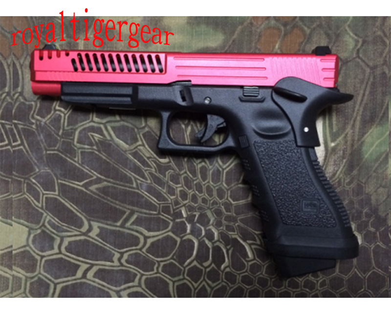 ARMY R34-D – GLOCK 34 G34 GBB Pistol Skeleton style CNC Slide w/ Rail – Red Black
