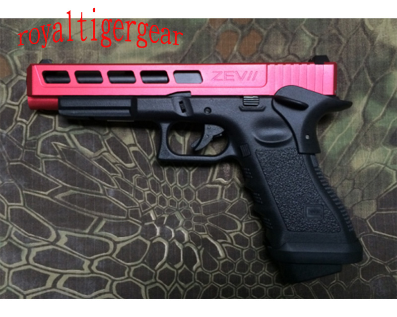 ARMY R34-F – GLOCK 34 G34 GBB Pistol Custom style CNC Slide w/ Rail – Red Black