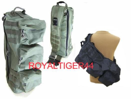 Assualt Tactical Sling Go Bag MOLLE Shoulder Pack Black.