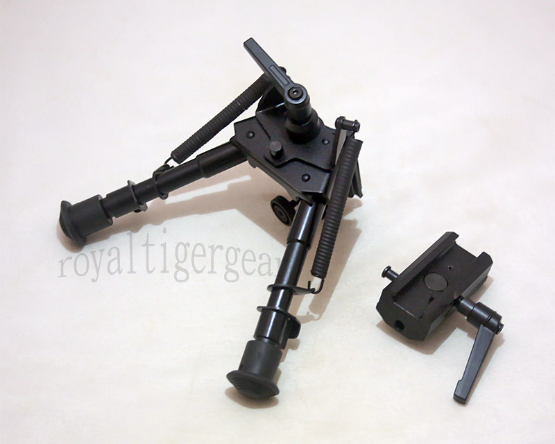 "Harris style Pivot Rifle Folding Bipod 6"" to 9"" - Removable Rail QD Mount – 2 Level Switch"