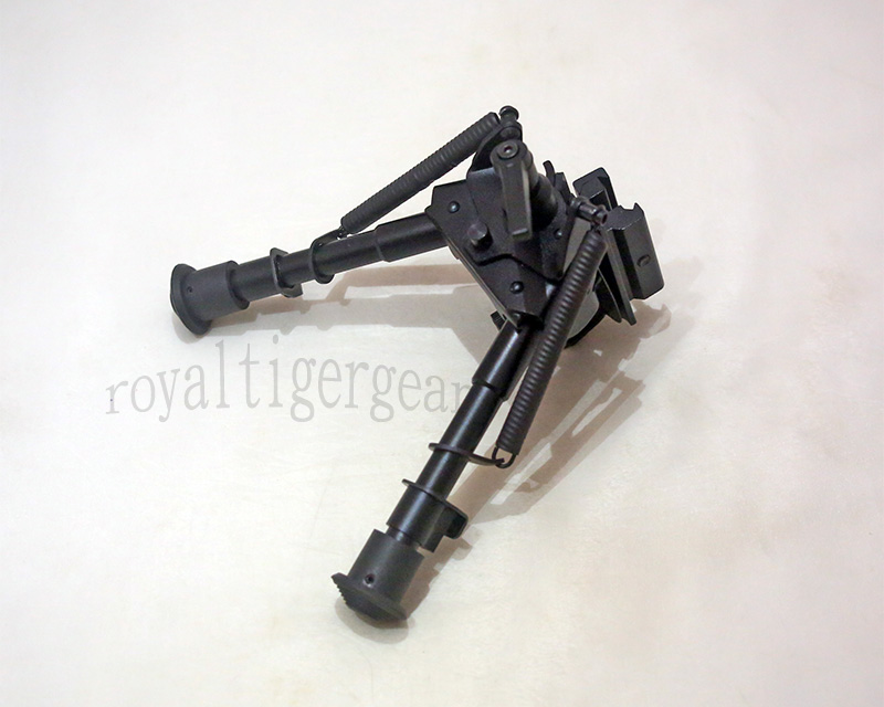 "Harris style Pivot Rifle Folding Bipod 6"" to 9"" - Removable Rail QD Mount - Level Switch"