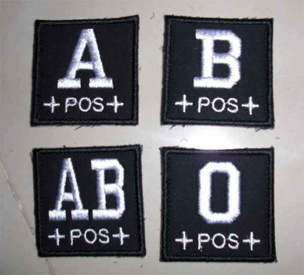 Blood Type Square Patch - Black