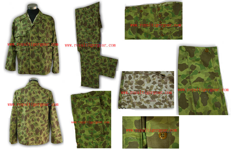 WW2 US Army USGI P43 Pacifci Camo HBT Utility Fatigue Shirt Pants Set
