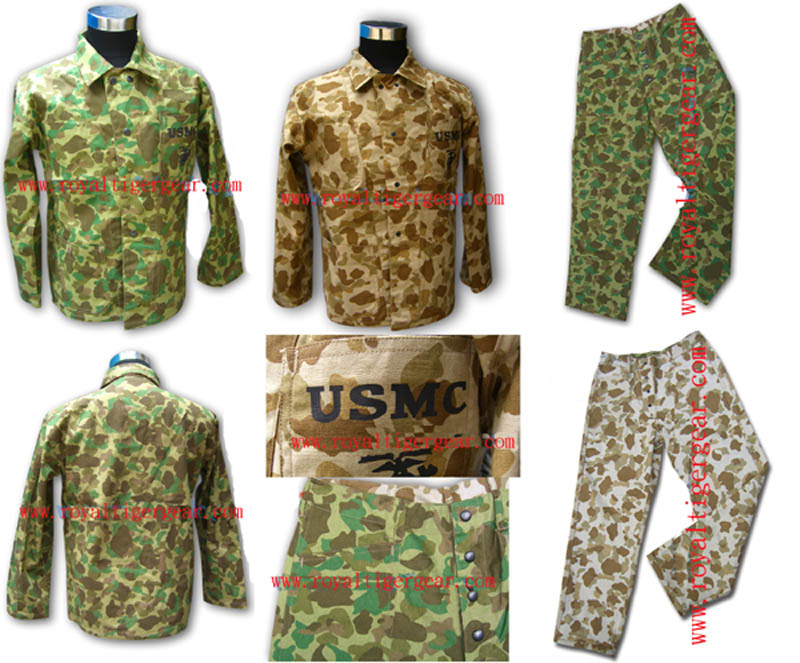 WW2 US Marines Corps USMC P42 Camo Pacific Reversible HBT Utility Fatigue Shirt Pants Set