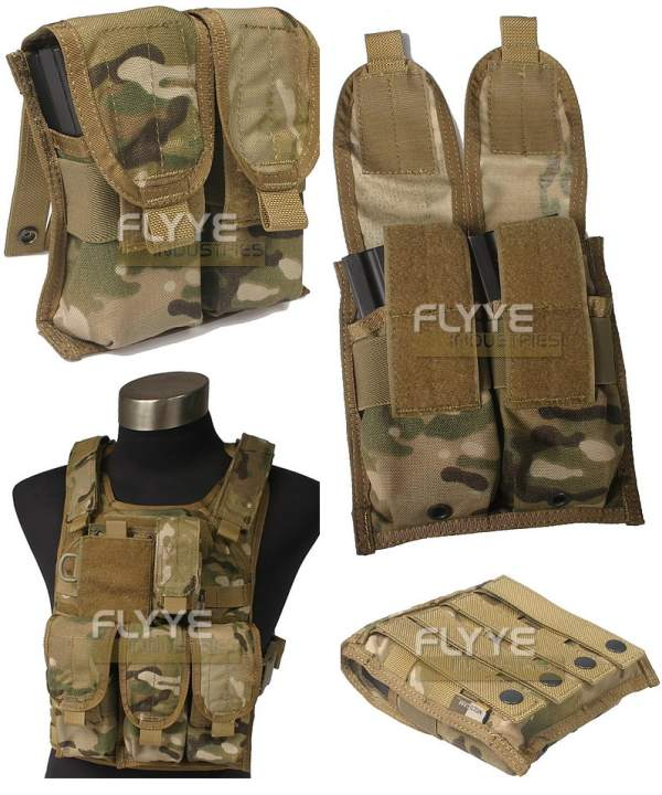 FLYYE Double M4 Mag MOLLE Pouch for 4 Mag - Ver. FE - A-TACS , A-TACS/FG