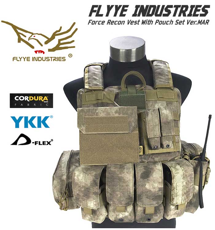 FLYYE Force Recon Vest with Pouch Set Ver.MAR - A-TACS , A-TACS/FG
