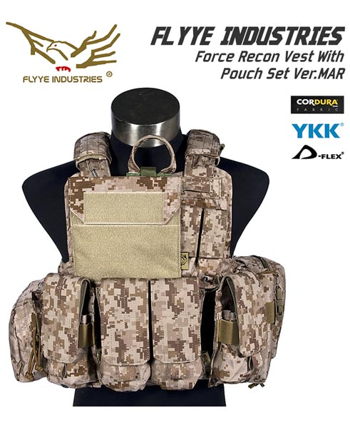 FLYYE Force Recon Vest with Pouch Set Ver.MAR - AOR1 , AOR2