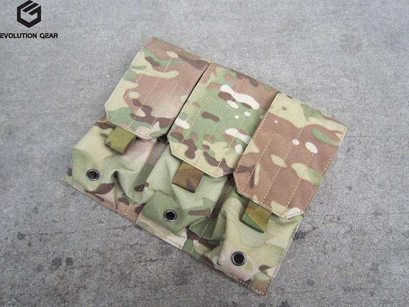 EVOLUTION GEAR Triple AR-15/M4 Mag MOLLE Pouch for 6 Mag - Multicam MC
