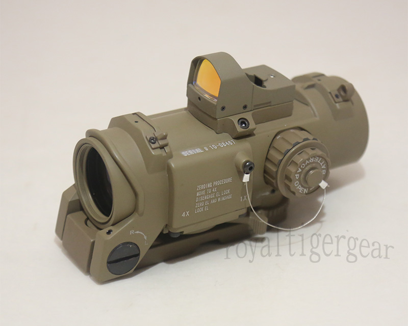 ELCAN SpectorDR style 4X Scope Red Dot Sight w/ Red Dot Reflex Sight - Dark Earth
