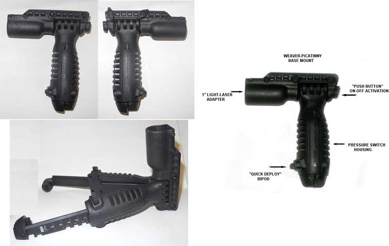 FAB T-POD Tactical Foregrip Bipod Light / Laser T-PODFA - Black