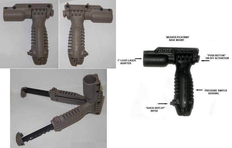 FAB T-POD Tactical Foregrip Bipod Light / Laser T-PODFA - Brown