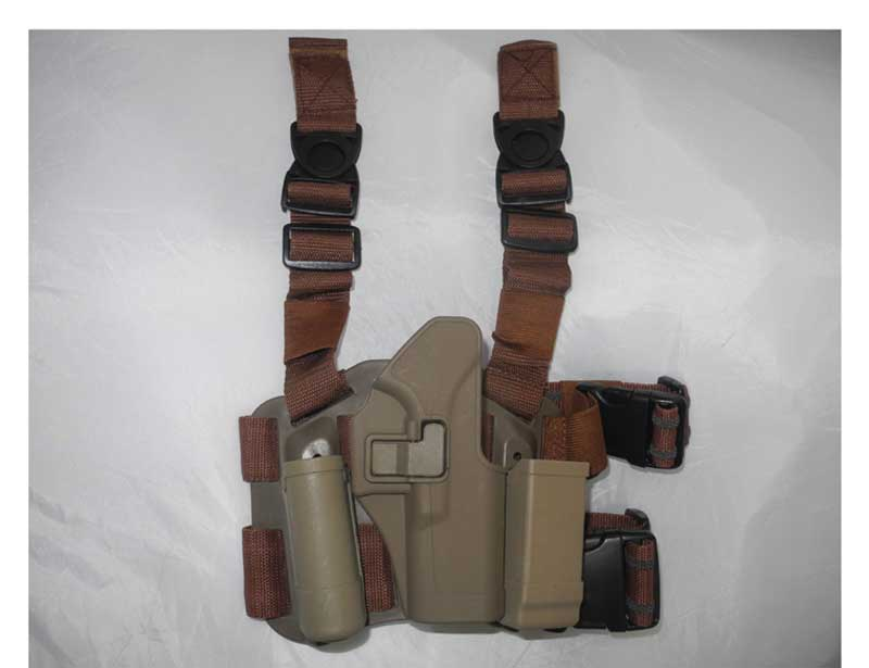 CQC SERPA style Tactical Holster Leg Panel with Baton and Magazine Set – GLOCK 17 G17 - Brown