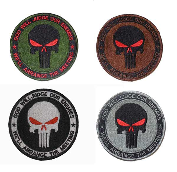 "US Navy Seal Punisher  ""God Will Judge Our Enemies We'll Arrange The Metting"" Patch"