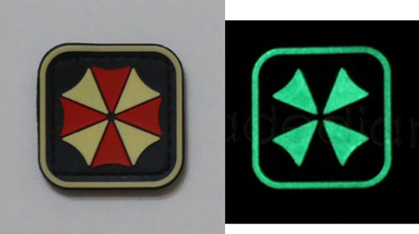 Biohazard Umbrella Corporation PVC Patch - Grow in Dark - Small