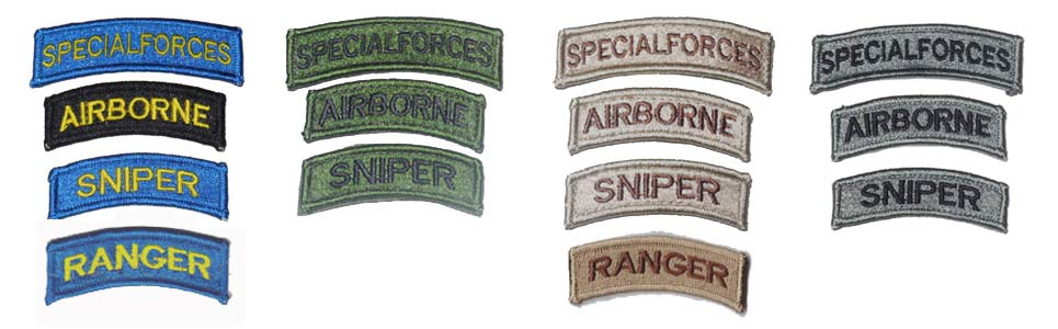 US Special Forces Tab Patch - Special Forces, Airborne, Sniper, Ranger - Ver. Full Embroidery
