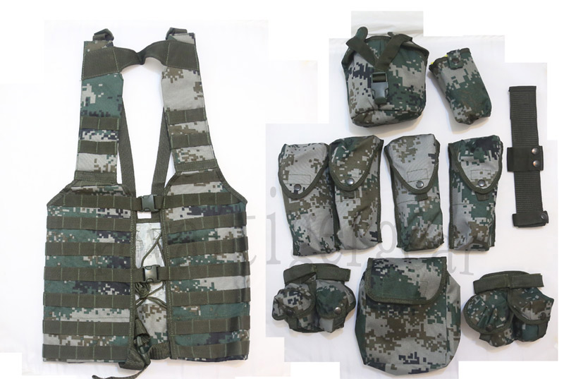 China PLA Type 07 Digital Universal Camo MOLLE Tactical Vest with 10 Pouch/Gear