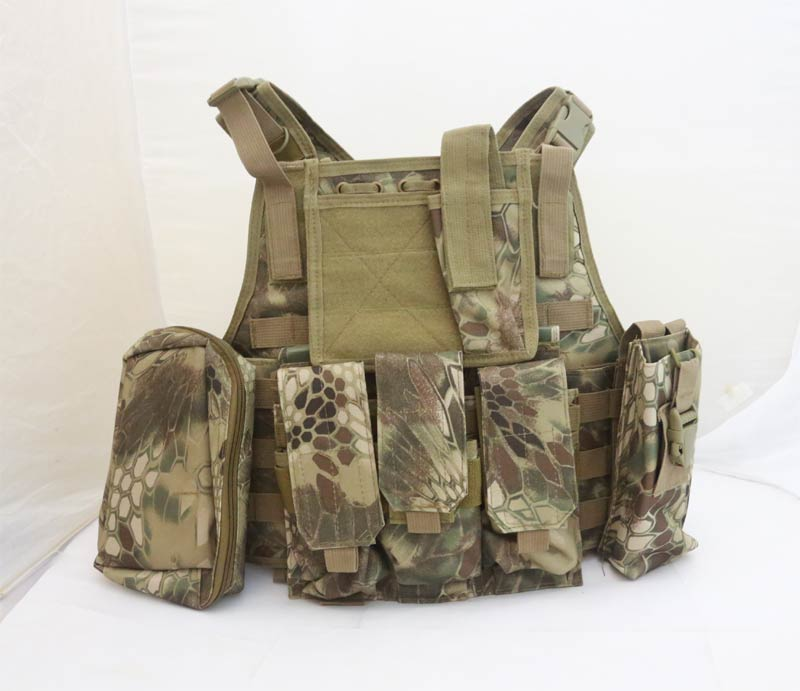 Tactical PC Plate Carrier Vest w/ Pouches – Python Snake Camo HLD Highland