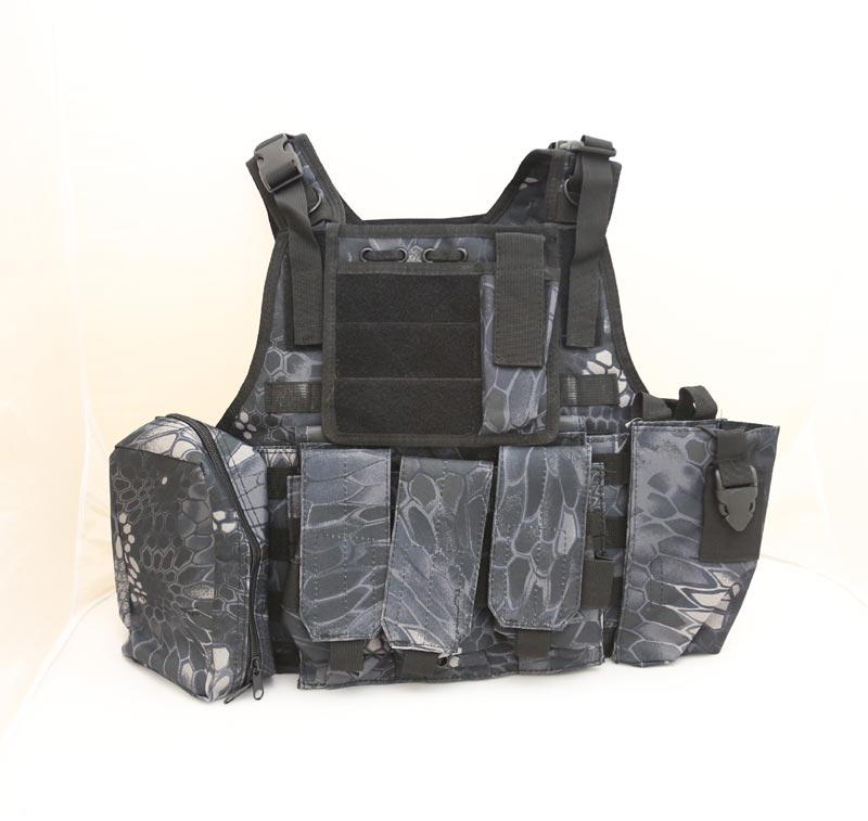 Tactical PC Plate Carrier Vest w/ Pouches – Python Snake Camo TYP Night Urban Marines