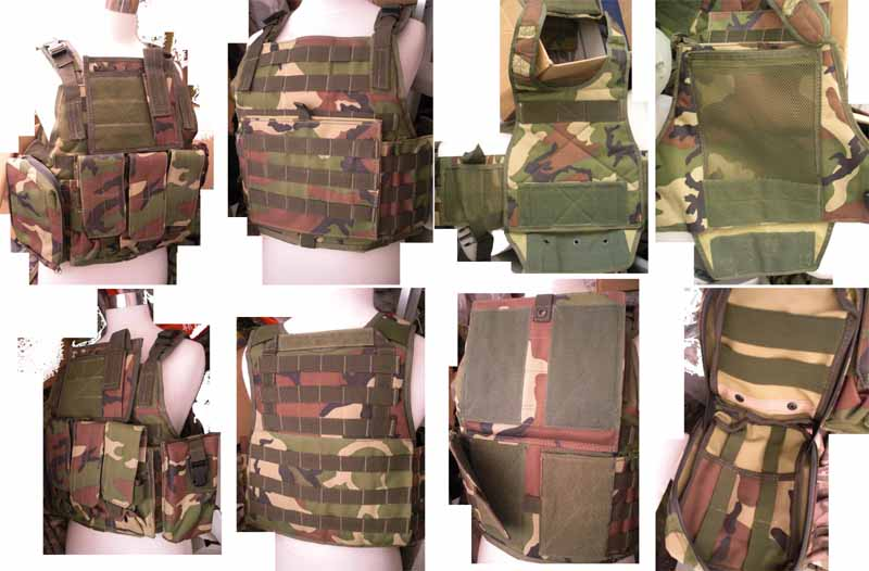Tactical PC Plate Carrier Vest w/ Pouches – US Woodland