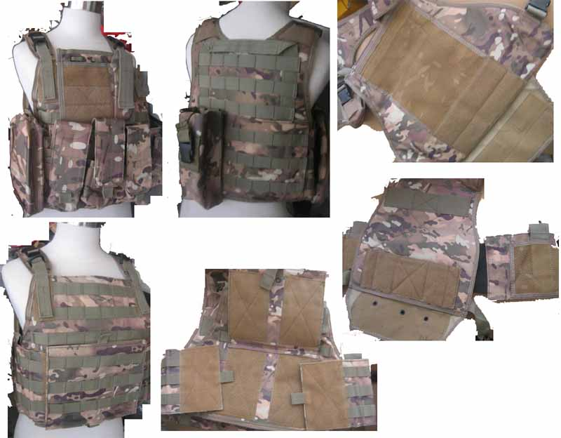Tactical PC Plate Carrier Vest w/ Pouches – Multicam MC