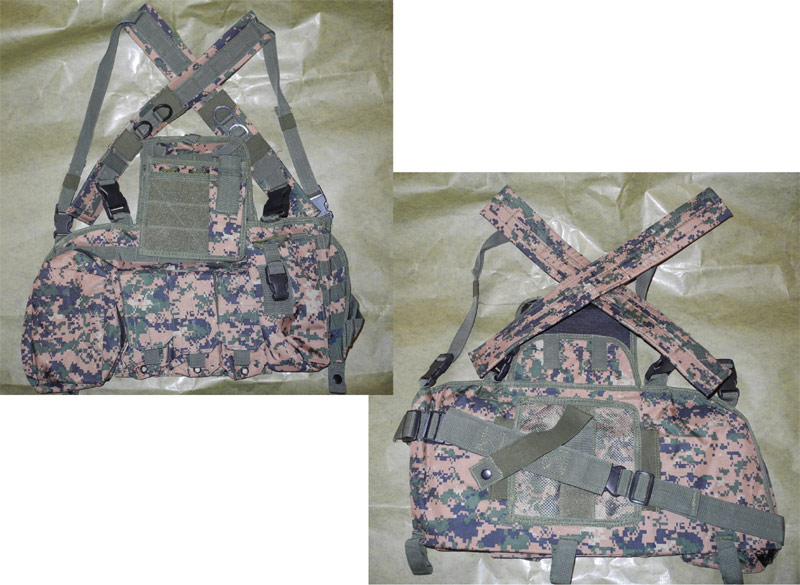 Tactical Chest Rig with pouches - USMC MARPAT Woodland