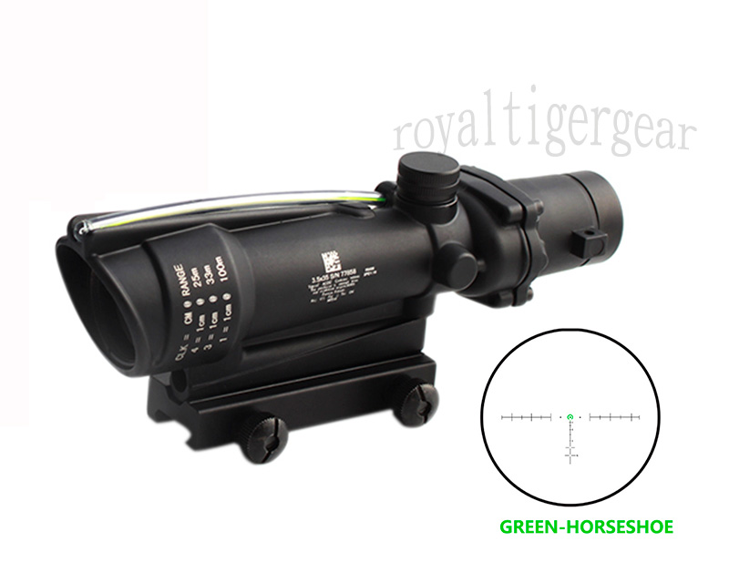 ACOG 3.5x35 Tactical Green Real Fiber Optics Riflescope - Green Horseshoe