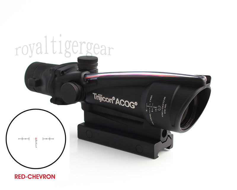 ACOG 3.5x35 Tactical Green Real Fiber Optics Riflescope - Red Chevron