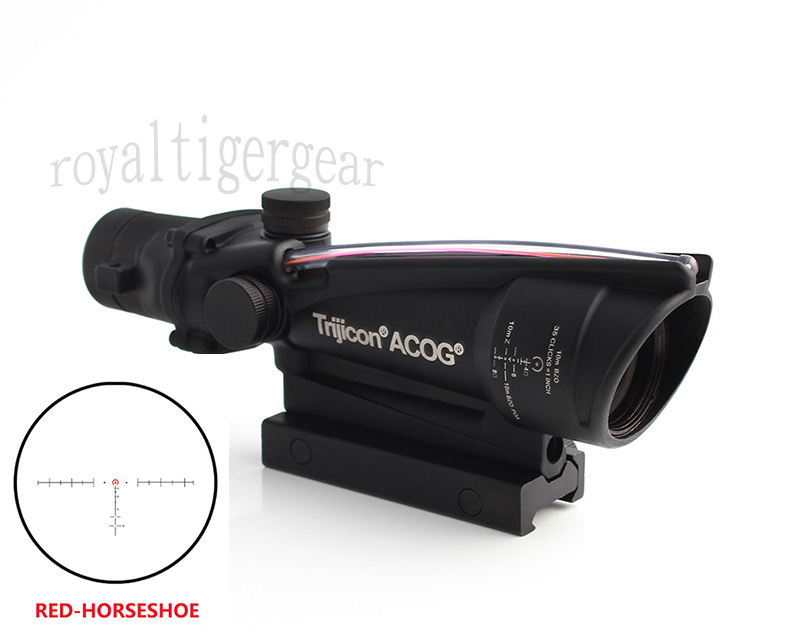 ACOG 3.5x35 Tactical Green Real Fiber Optics Riflescope - Red Horseshoe