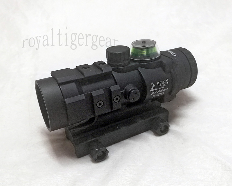 SPINA AR332 style 3X Magnifier Green Illuminated Tactical Scope - Black