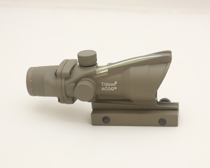 ACOG style 4X Scope - Green Illuminated Optic Fibre Scope - Dark Earth