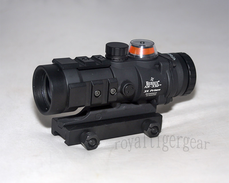 AR332 style 3X Magnifier Red Illuminated Tactical Scope - Black