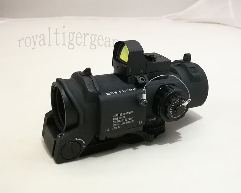 ELCAN SpectorDR style 1X / 4X Scope Red Dot Sight w/ Red Dot Reflex Sight – Black