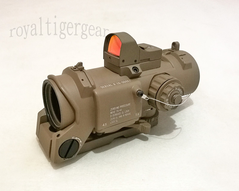 ELCAN SpectorDR style 1X / 4X Scope Red Dot Sight w/ Red Dot Reflex Sight – Dark Earth