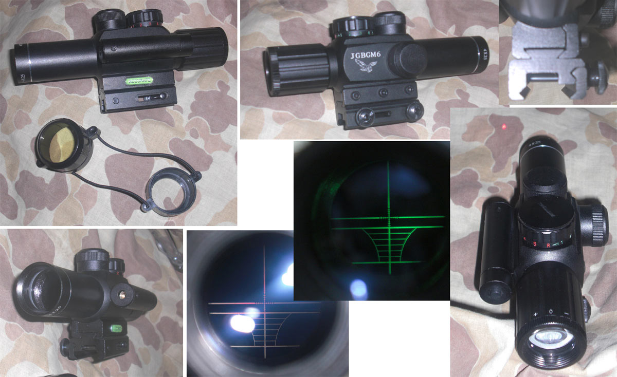 JGBGM6 Tactical Red / Green Dot Illuminated Reticle 4X Scope with Laser