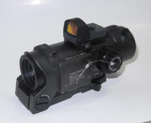 ELCAN SpectorDR style 4X Scope Red Dot Sight w/ Red Dot Reflex Sight - Black