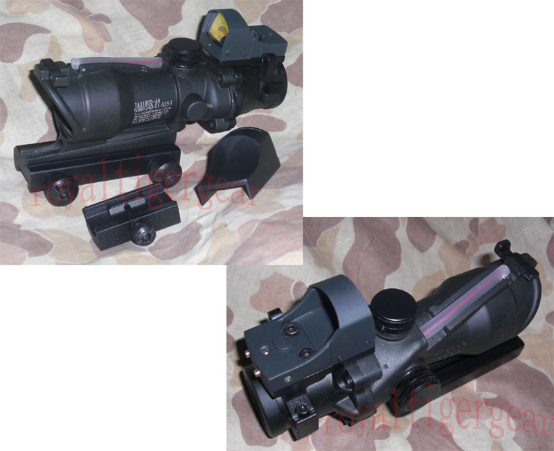 ACOG style 4X Scope – Dummy Red Optic Fibre w/ Red Dot Sight - Black