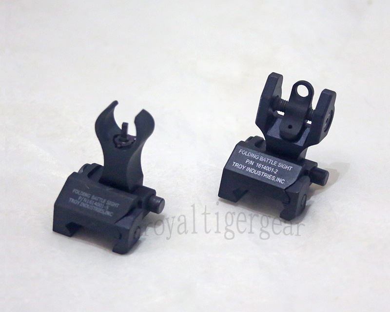 TROY HK style Front / Rear Metal Folding Iron Battle Sight set - Black