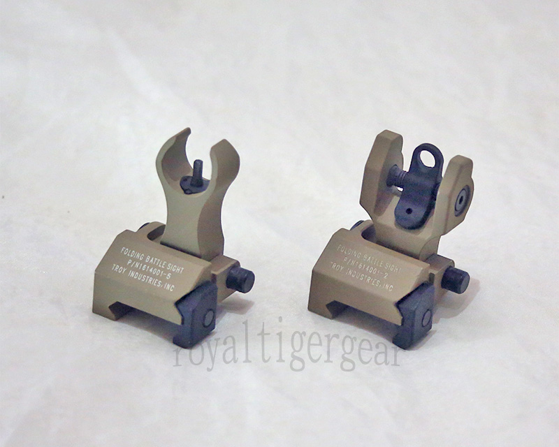 TROY HK style Front / Rear Metal Folding Iron Battle Sight set - Dark Earth