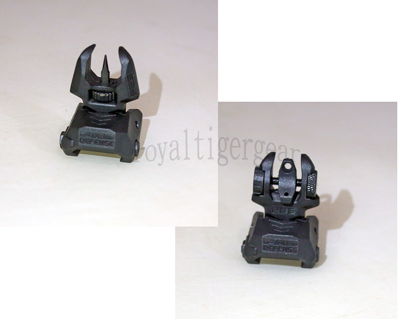 FAB style FBS RBS Front / Rear Folding Back-Up Sight set - Black