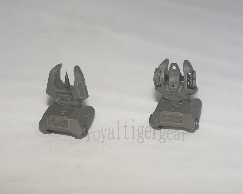 FAB style FBS RBS Front / Rear Folding Back-Up Sight set - OD