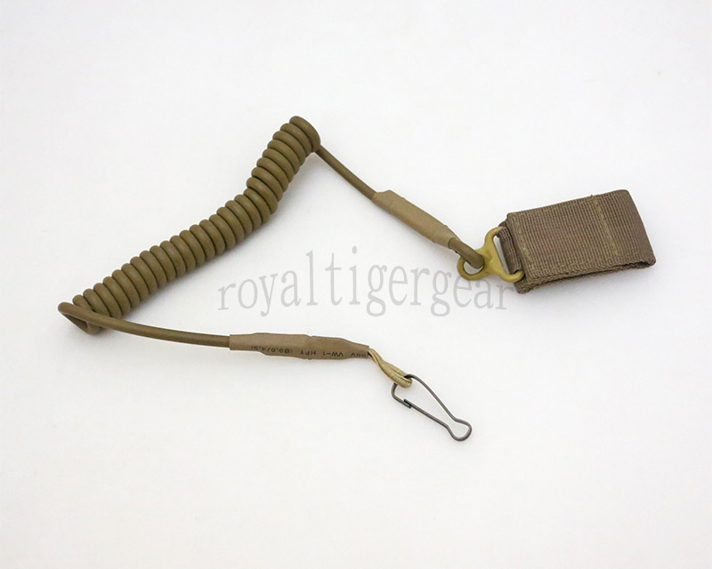 Pistol Elastic String Cord Velcro Safety Lanyard Belt Holder Sling - Tan