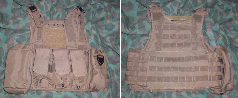 Tactical PC Plate Carrier Vest w/ Pouches – Tan