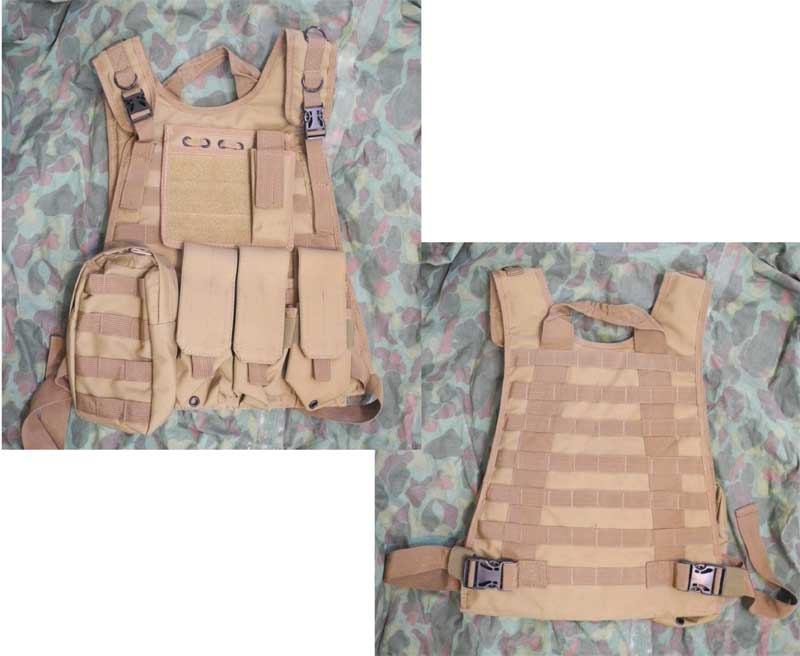 Tactical Plate Vest with Pouches - Brown
