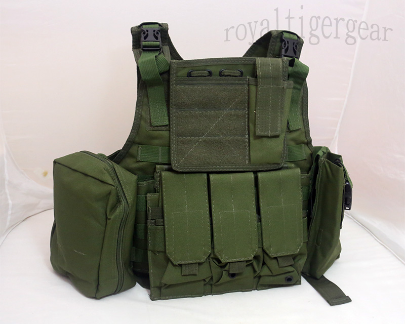 Tactical PC Plate Carrier Vest w/ Pouches – OD